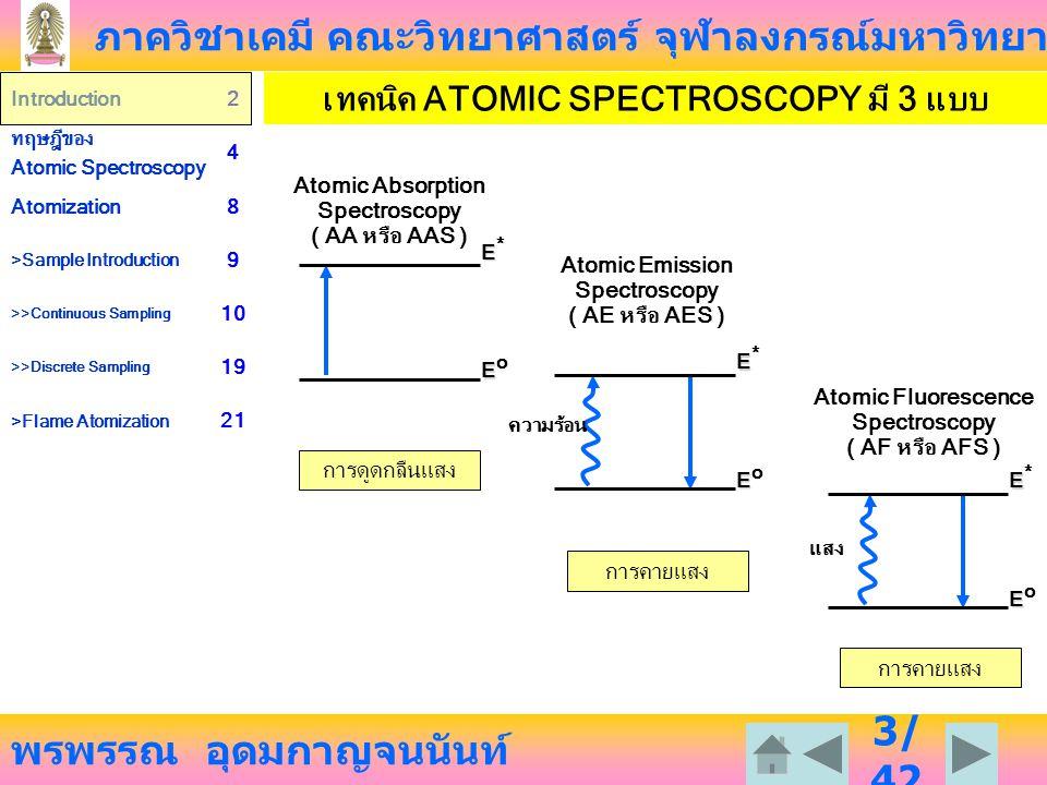 ภาควิชาเคมี คณะวิทยาศาสตร์ จุฬาลงกรณ์มหาวิทยาลัย พรพรรณ อุดมกาญจนนันท์ Introduction2 ทฤษฎีของ Atomic Spectroscopy 4 Atomization8 >Sample Introduction 9 >>Continuous Sampling 10 >>Discrete Sampling 19 >Flame Atomization 21 34 /4 2 PRE-MIX BURNER ข้อดี ให้ flame ที่นิ่ง มีโครงสร้างแน่นอน ไม่ค่อยกระพริบ มีการเปล่งแสงจาก flame น้อย ความหนืดหรืออัตราในการดูด สารละลายเข้าสู่ flame ที่แตกต่างกัน จะไม่ก่อให้เกิดปัญหาในการวิเคราะห์ เพราะมี nebulizer ทำให้แตก ออกเป็นละอองเล็ก ๆ จึงสามารถดูด สารละลายเข้าไปด้วยท่อที่ค่อนข้าง ใหญ่ได้ สามารถออกแบบหัว burner ให้ได้ เปลวไฟที่กว้างและยาวได้ ข้อเสีย ถ้าใช้ solvent mixture เช่น alcohol-water จะทำให้ solvent ที่ระเหยง่าย เช่น alcohol ระเหย ก่อนใน pre-mix chamber มีผล ให้สัดส่วนของสารละลายที่เข้าสู่ flame ต่างจากสารละลายดั้งเดิม เรียกปรากฏการณ์แบบนี้ว่า selective evaporation อาจเกิดการระเบิดใน pre-mix chamber ได้ ในกรณีมีสภาพ flashback ของเปลวไฟ