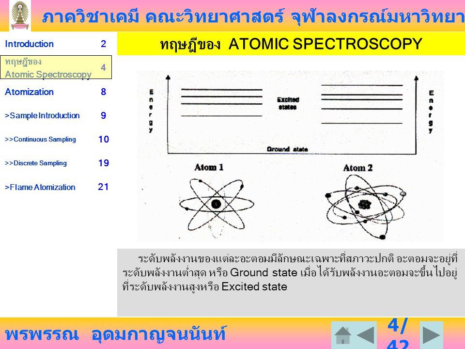 ภาควิชาเคมี คณะวิทยาศาสตร์ จุฬาลงกรณ์มหาวิทยาลัย พรพรรณ อุดมกาญจนนันท์ Introduction2 ทฤษฎีของ Atomic Spectroscopy 4 Atomization8 >Sample Introduction 9 >>Continuous Sampling 10 >>Discrete Sampling 19 >Flame Atomization 21 35 /4 2 TOTAL CONSUMPTION BURNER ข้อดี เมื่อนำตัวอย่างใหม่เข้ามา จะให้สัญญาณ วัดออกมาอย่างรวดเร็ว ไม่มีปัญหาเรื่องการระเบิด เพราะ fuel gas กับ oxidant gas มาพบกันและ เกิดติดไฟเลย เนื่องจาก sample อาจเข้าสู่เปลวไฟ โดยตรง จึงไม่มีสูญเสีย เป็นตัวอย่างที่ แท้จริง ข้อเสีย เปลวไฟจะแคบ กระพริบบ่อย และ เปล่งแสงมาก เพราะ fuel gas และ oxidant gas ต้องพ่นออกมาพบกันที่ จุดเดียวกัน และเกิดปฏิกิริยา combustion โครงสร้างของเปลวไฟไม่แน่นอน เพราะมีแรงดันของแก๊สออกมา ตลอดเวลา และเกิดปฏิกิริยา combustion ต่อเนื่องตลอดเวลา เนื่องจากสารละลายลายตัวอย่างต้องถูก นำเข้ามาในปริมาณน้อย ๆ เพราะไม่มี nebulizer ทำให้แตกเป็นละอองเล็ก ๆ จึงต้องใช้ท่อเล็กกว่าในกรณี pre-mix burner ทำให้ความหนืดของสารละลาย มีผลกระทบได้ สารละลายที่เข้าสู่เปลวไฟทำให้อุณหภูมิ ของเปลวไฟลดลงอย่างมาก