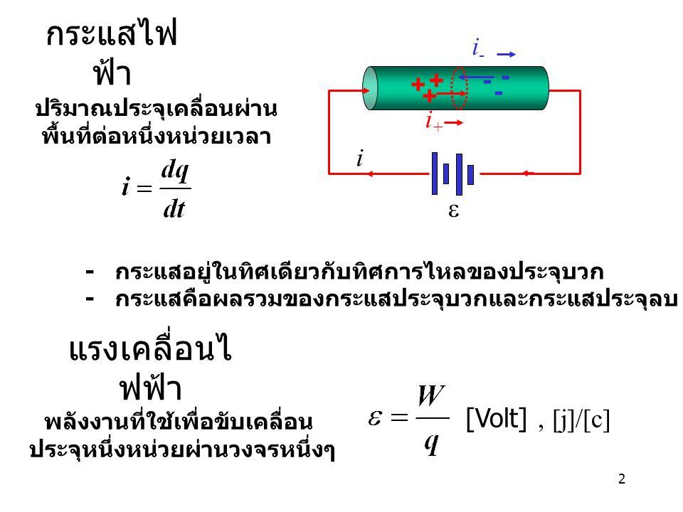 2 กระแสไฟ ฟ้า ปริมาณประจุเคลื่อนผ่าน พื้นที่ต่อหนึ่งหน่วยเวลา + + + - - - i i+i+ i-i-  แรงเคลื่อนไ ฟฟ้า พลังงานที่ใช้เพื่อขับเคลื่อน ประจุหนึ่งหน่วยผ