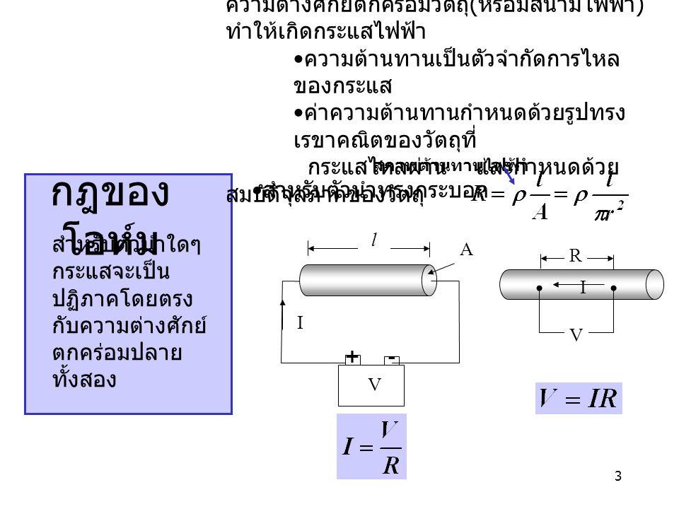 3 กฎของ โอห์ม ความต่างศักย์ตกคร่อมวัตถุ ( หรือมีสนามไฟฟ้า ) ทำให้เกิดกระแสไฟฟ้า ความต้านทานเป็นตัวจำกัดการไหล ของกระแส ค่าความต้านทานกำหนดด้วยรูปทรง เ