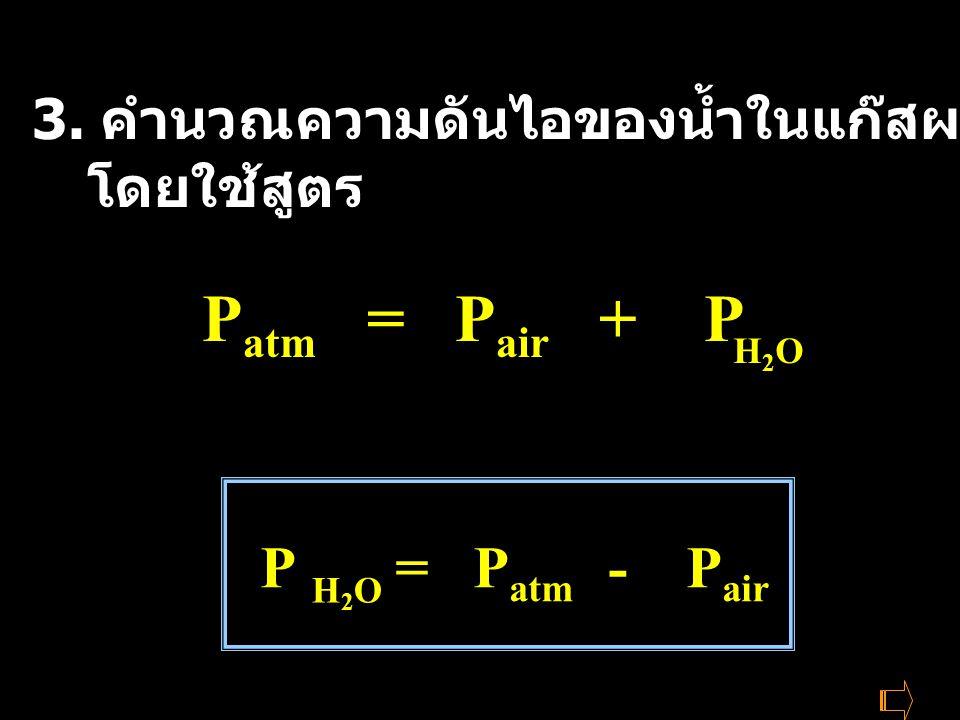 3. คำนวณความดันไอของน้ำในแก๊สผสมที่ 50-80 o C โดยใช้สูตร P atm = P air + P H2OH2O P = P atm - P air H2OH2O