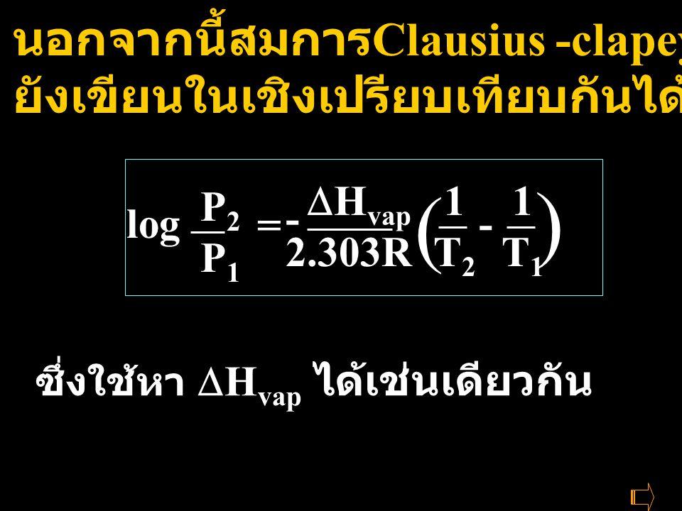 ซึ่งใช้หา  H vap ได้เช่นเดียวกัน นอกจากนี้สมการ Clausius -clapeyron ยังเขียนในเชิงเปรียบเทียบกันได้ log P2P1P2P1 =  H vap 2.303R 1T21T2 1T11T1 ( ) -