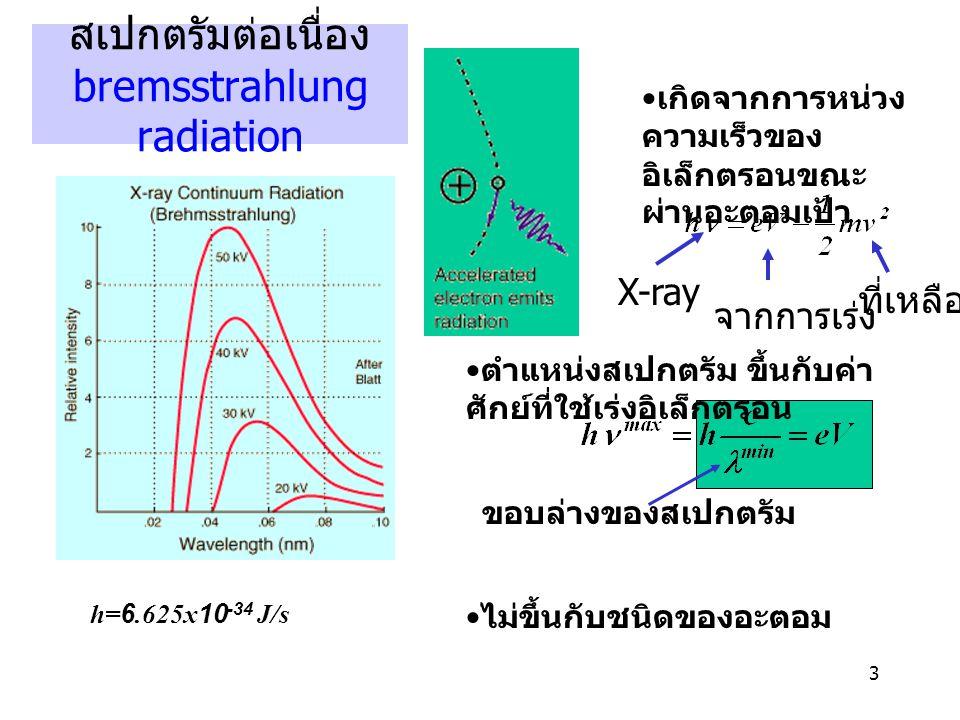 3 สเปกตรัมต่อเนื่อง bremsstrahlung radiation เกิดจากการหน่วง ความเร็วของ อิเล็กตรอนขณะ ผ่านอะตอมเป้า จากการเร่ง ที่เหลือ X-ray ตำแหน่งสเปกตรัม ขึ้นกับ