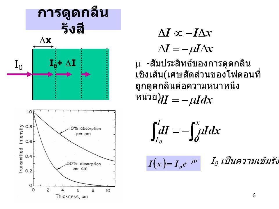 7 การดูดกลืนรังสีขึ้นอยู่กับความ หนาแน่นของวัสดุ ให้  m =  /  คือสัมประสิทธ์การ ดูดกลืนเชิงมวล  m จะมากขึ้นตามเลขอะตอม ของวัสดุ  m จะลดลงสำหรับลำรังสี เอกซ์ที่มี E สูงขึ้น Lambert's Law ค่าครึ่งความหนา - ความหนาที่ความเข้มลดลงครึ่งหนึ่ง