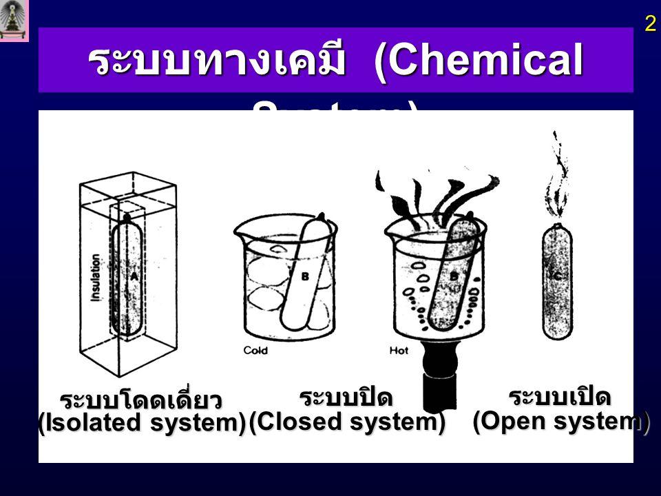 ระบบทางเคมี (Chemical System) 2  ระบบโดดเดี่ยว (Isolated system) ระบบปิด (Closed system) ระบบเปิด (Open system)