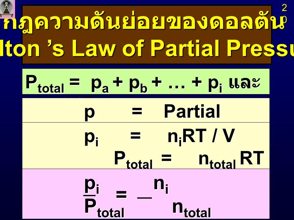 กฎความดันย่อยของดอลตัน (Dalton 's Law of Partial Pressure) P total = p a + p b + … + p i และ p i = X i P total p = Partial Pressure p i = n i RT / V P