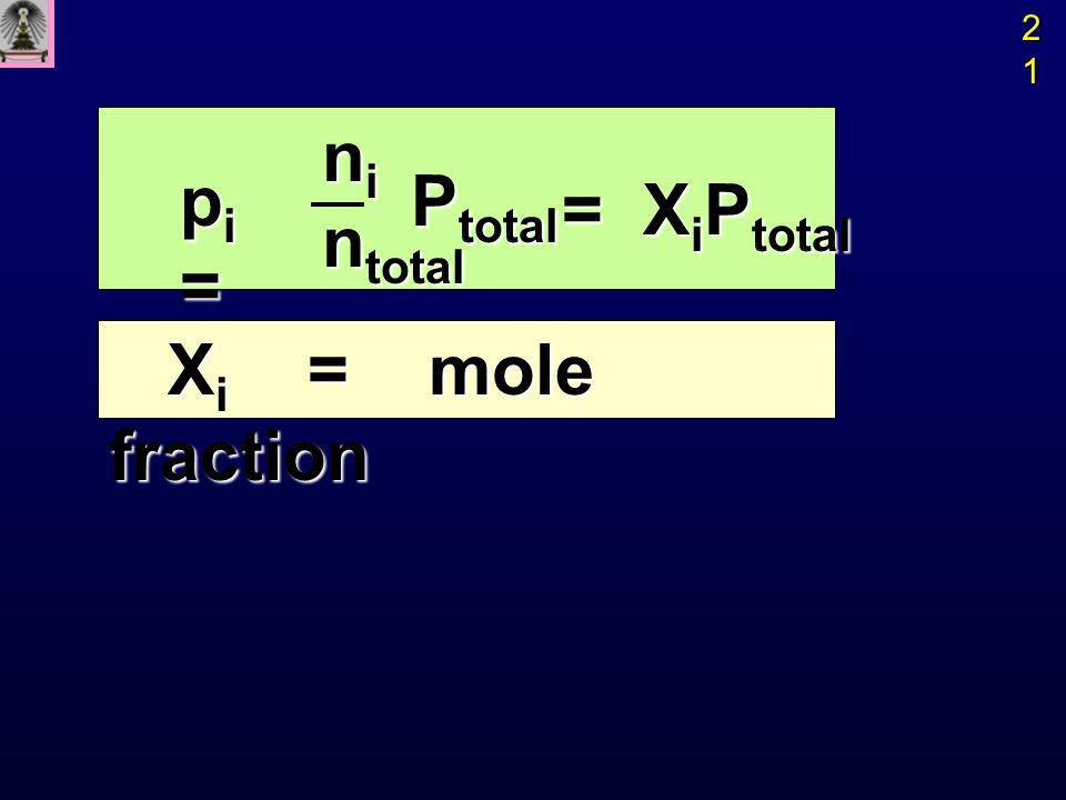 Ex ถ้าผสม N 2 200 cm 3 ที่ 25 o C 250 torr กับ Ex ถ้าผสม N 2 200 cm 3 ที่ 25 o C 250 torr กับ O 2 350 cm 3 ที่ 25 o C 300 torr จน มีปริมาตรรวม O 2 350 cm 3 ที่ 25 o C 300 torr จน มีปริมาตรรวม 300 cm 3 จงหาความดันรวมของ แก๊สผสมที่ 25 o C 300 cm 3 จงหาความดันรวมของ แก๊สผสมที่ 25 o C P 2 = P 1 V 1 / V 2 P T = P N 2 + P O 2 = 167 + 350 = 517 torr P N 2 = (250 torr) (200 cm 3 ) = 167 torr (300 cm 3 ) (300 cm 3 ) P O 2 = (300 torr) (350 cm 3 ) = 350 torr (300 cm 3 ) (300 cm 3 ) 22222222