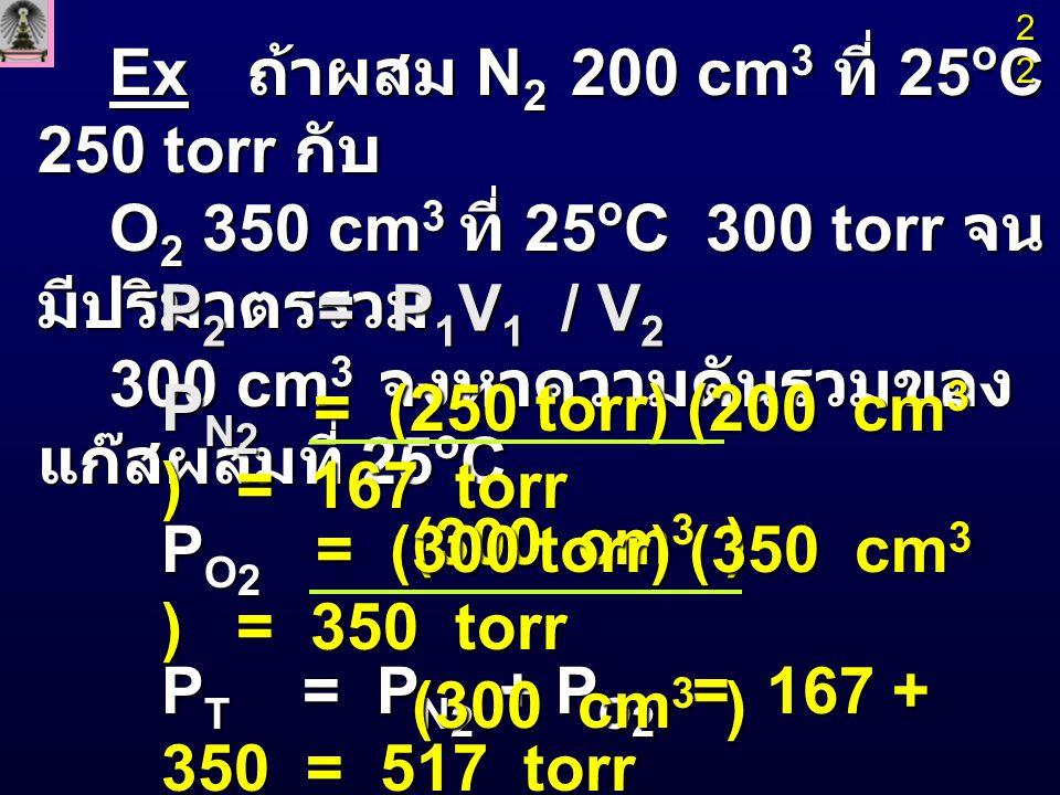Ex H 2 0.174 g และ N 2 1.365 g บรรจุในหลอด ขนาด 2.83 L ที่ 0 o C จงหา เศษส่วนโมล และ ความดันย่อยของ H 2 และ N 2 และความดันรวม n H 2 = 0.174 g = 0.087 mol 2g / mol 2g / mol n N 2 = 1.365 g = 0.049 mol 28g / mol 28g / mol n Tot = n H 2 + n N 2 = 0.136 mol X H 2 = n H 2 = 0.087 mol = 0.64 n total 0.136 mol 23232323