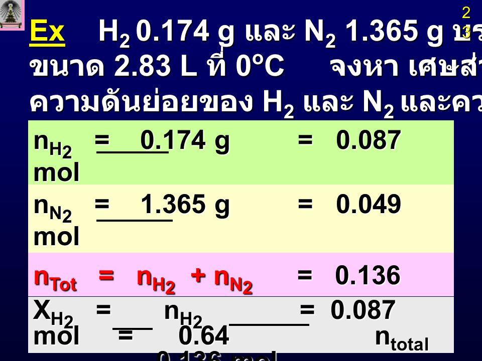 X N 2 = n N 2 = 0.049 mol = 0.36 X N 2 = n N 2 = 0.049 mol = 0.36 n total 0.136 mol n total 0.136 mol P H 2 = n H 2 RT/ V = (0.087mol)(0.082 L atm K -1 mol -1 )(273K) 2.83 L P H 2 = n H 2 RT/ V = (0.087mol)(0.082 L atm K -1 mol -1 )(273K) 2.83 L = 0.69 atm = 0.69 atm P N 2 = n N 2 RT/ V = (0.049 mol)(0.082 L atm K -1 mol -1 )(273K) 2.83 L P N 2 = n N 2 RT/ V = (0.049 mol)(0.082 L atm K -1 mol -1 )(273K) 2.83 L = 0.39 atm = 0.39 atm P Tot = P H 2 + P N 2 = 1.08 atm P Tot = P H 2 + P N 2 = 1.08 atm 24242424
