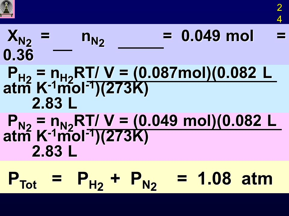 X N 2 = n N 2 = 0.049 mol = 0.36 X N 2 = n N 2 = 0.049 mol = 0.36 n total 0.136 mol n total 0.136 mol P H 2 = n H 2 RT/ V = (0.087mol)(0.082 L atm K -