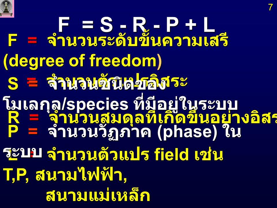 General Phase Rule : F = S - R - P + L สำหรับระบบทางเคมี สำหรับระบบทางเคมี Field ที่เกี่ยวข้องคือ T,P เท่านั้น Field อื่นมีค่าคงที่ Field ที่เกี่ยวข้องคือ T,P เท่านั้น Field อื่นมีค่าคงที่ จำนวนส่วนประกอบทางเคมี (Chemical Component) จำนวนส่วนประกอบทางเคมี (Chemical Component) = C = S - R = C = S - R 8 F = S - R - P + 2 นั่นคือ L = 2 นั่นคือ L = 2 Phase Rule : F = C - P + 2 Phase Rule : F = C - P + 2