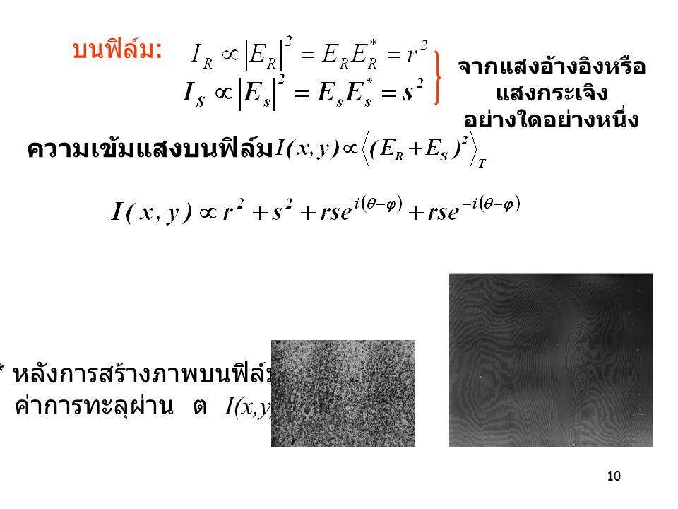 10 บนฟิล์ม : * หลังการสร้างภาพบนฟิล์ม ค่าการทะลุผ่าน ต  I(x,y) จากแสงอ้างอิงหรือ แสงกระเจิง อย่างใดอย่างหนึ่ง ความเข้มแสงบนฟิล์ม