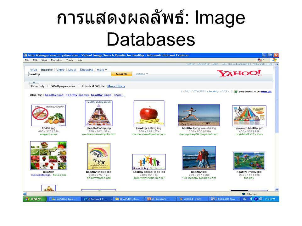 การแสดงผลลัพธ์ : Image Databases