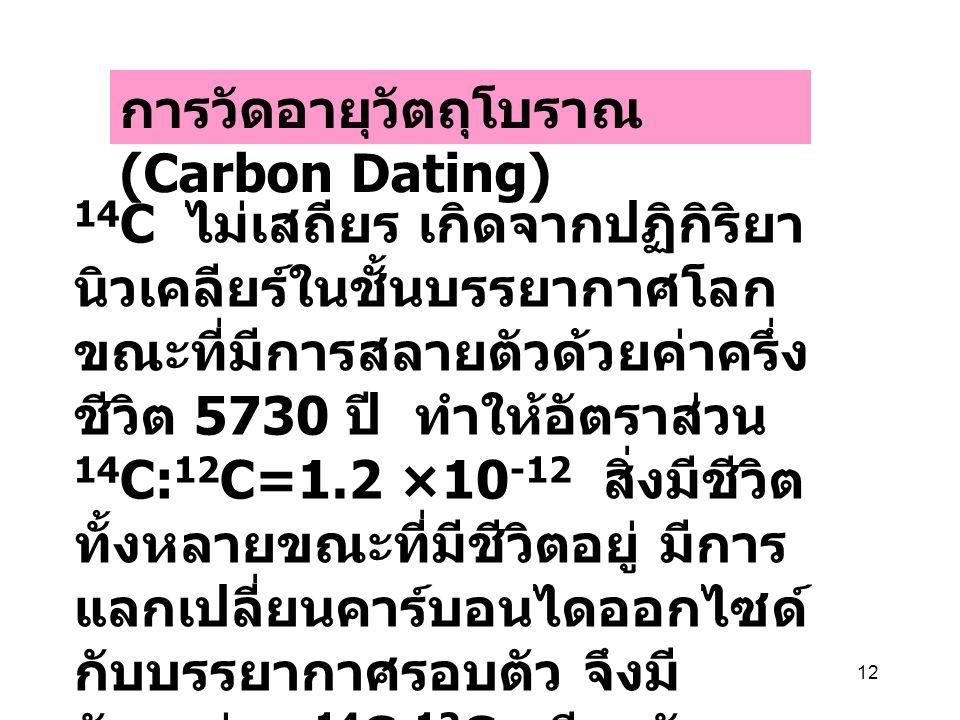 12 การวัดอายุวัตถุโบราณ (Carbon Dating) 14 C ไม่เสถียร เกิดจากปฏิกิริยา นิวเคลียร์ในชั้นบรรยากาศโลก ขณะที่มีการสลายตัวด้วยค่าครึ่ง ชีวิต 5730 ปี ทำให้