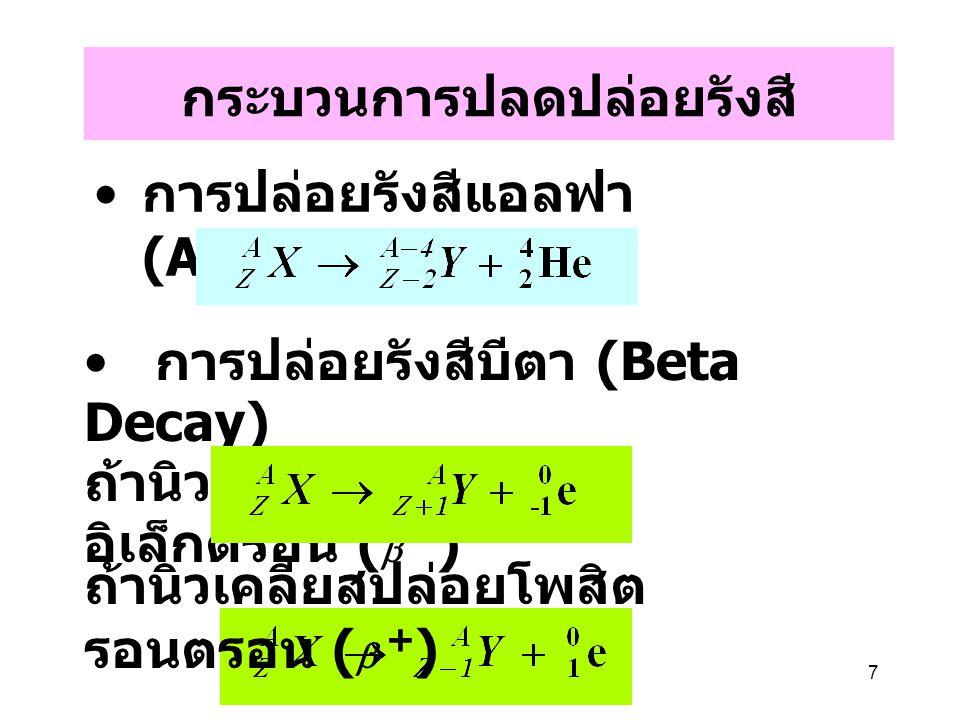 7 กระบวนการปลดปล่อยรังสี การปล่อยรังสีแอลฟา (Alpha Decay) การปล่อยรังสีบีตา (Beta Decay) ถ้านิวเคลียสปล่อย อิเล็กตรอน (  - ) ถ้านิวเคลียสปล่อยโพสิต