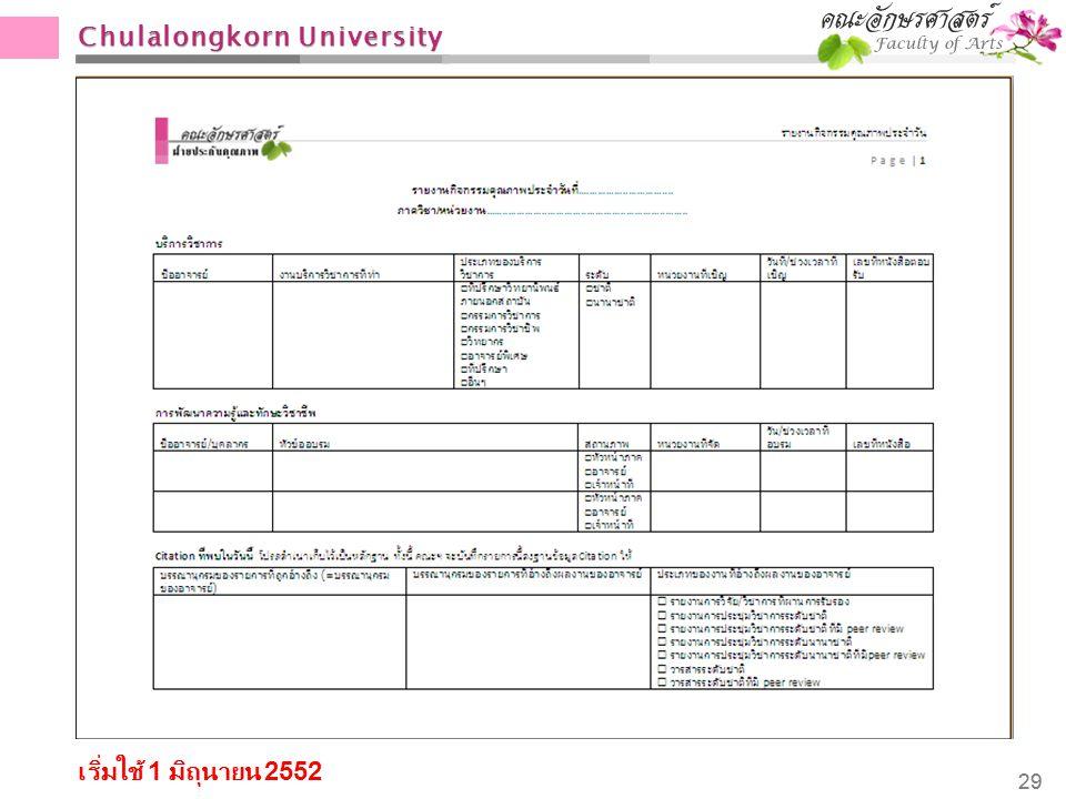 Chulalongkorn University 29 เริ่มใช้ 1 มิถุนายน 2552