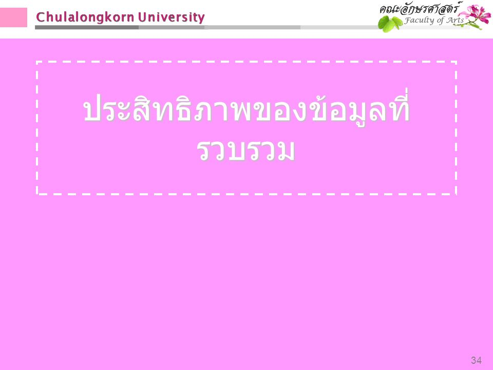 Chulalongkorn University ประสิทธิภาพของข้อมูลที่ รวบรวม 34