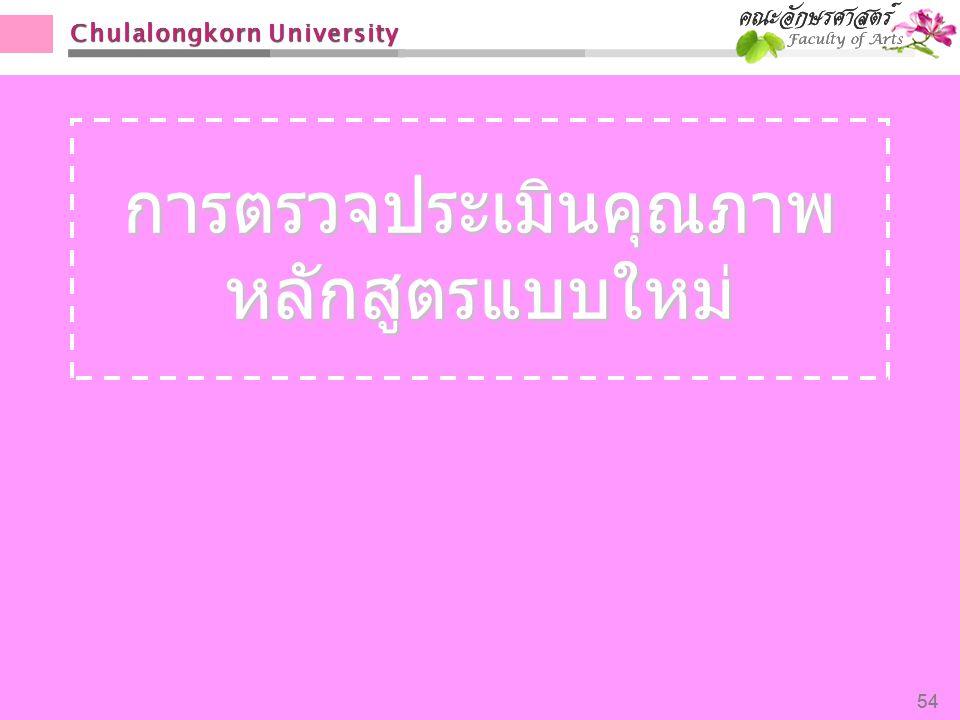 Chulalongkorn University 54 การตรวจประเมินคุณภาพ หลักสูตรแบบใหม่ 54