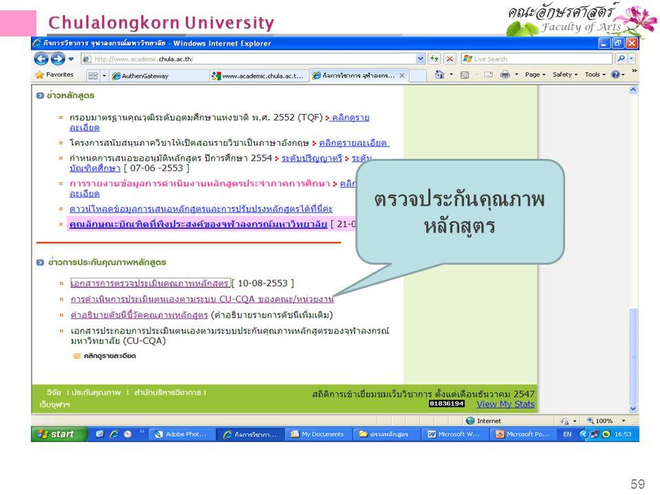Chulalongkorn University 59 ตรวจประกันคุณภาพ หลักสูตร