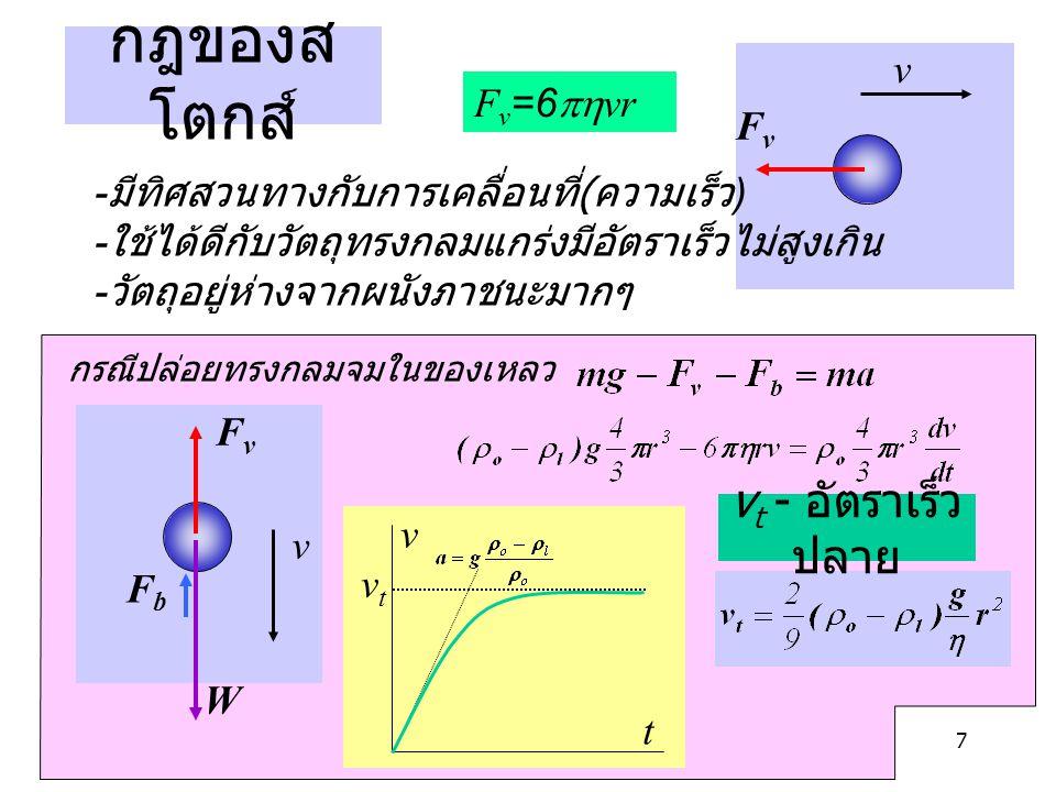 7 กฎของส โตกส์ F v =6  vr v FvFv - มีทิศสวนทางกับการเคลื่อนที่ ( ความเร็ว ) - ใช้ได้ดีกับวัตถุทรงกลมแกร่งมีอัตราเร็วไม่สูงเกิน - วัตถุอยู่ห่างจากผนั