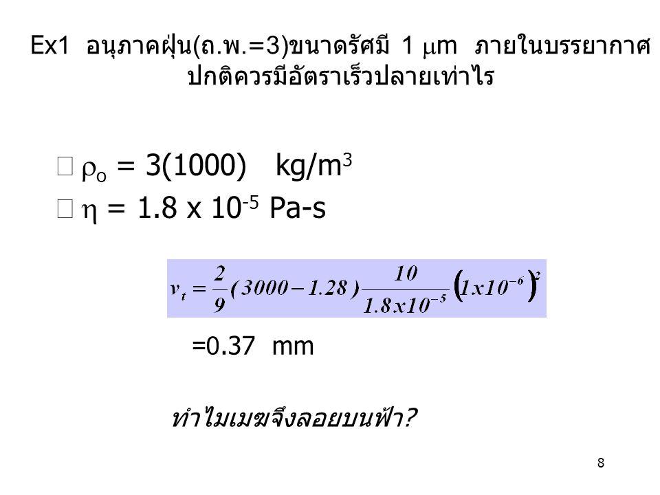 8 Ex1 อนุภาคฝุ่น ( ถ. พ.=3) ขนาดรัศมี 1  m ภายในบรรยากาศ ปกติควรมีอัตราเร็วปลายเท่าไร  o  = 3(1000) kg/m 3  = 1.8 x 10 -5 Pa-s =0.37 mm ทำไมเมฆ