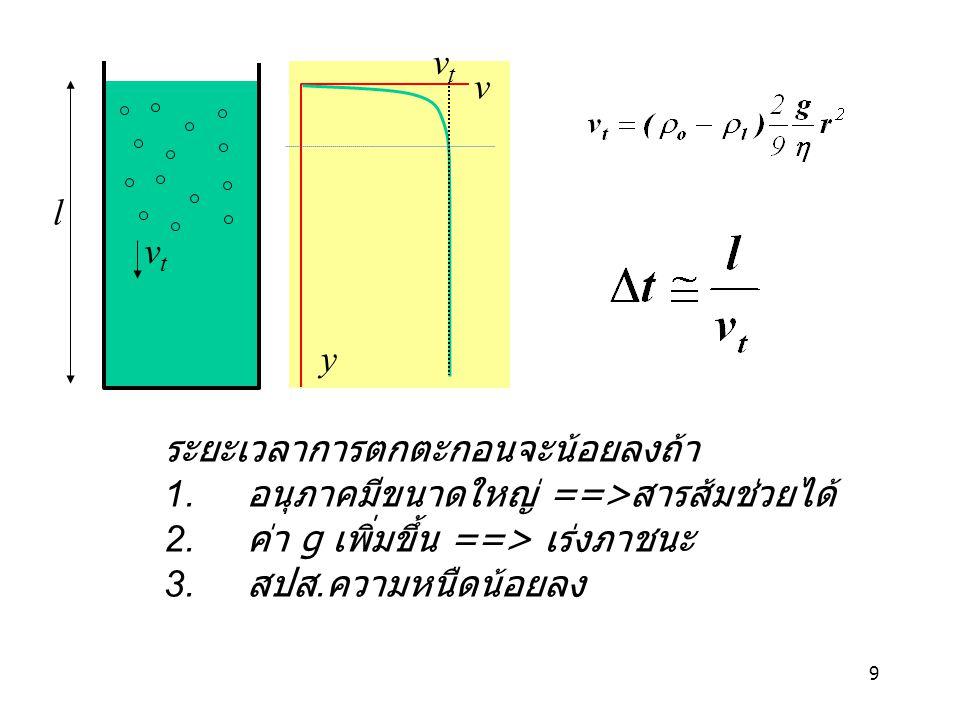 9 vtvt y vtvt v l ระยะเวลาการตกตะกอนจะน้อยลงถ้า 1. อนุภาคมีขนาดใหญ่ ==> สารส้มช่วยได้ 2. ค่า g เพิ่มขึ้น ==> เร่งภาชนะ 3. สปส. ความหนืดน้อยลง