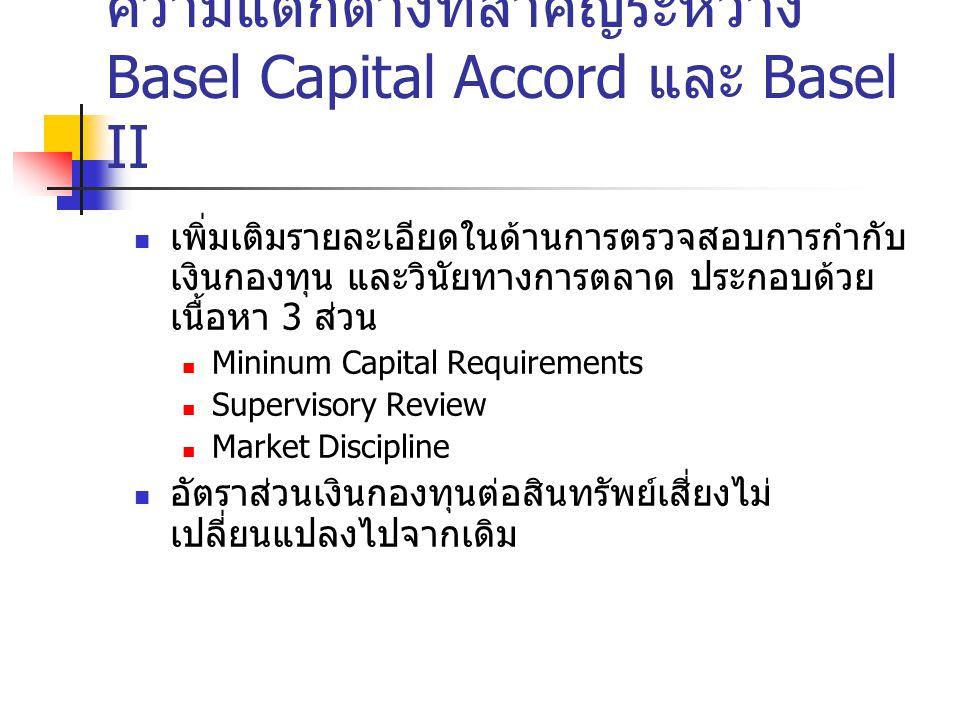 ความแตกต่างที่สำคัญระหว่าง Basel Capital Accord และ Basel II เพิ่มเติมรายละเอียดในด้านการตรวจสอบการกำกับ เงินกองทุน และวินัยทางการตลาด ประกอบด้วย เนื้