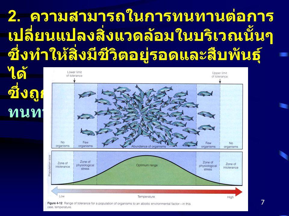 Gajaseni, 20017 2. ความสามารถในการทนทานต่อการ เปลี่ยนแปลงสิ่งแวดล้อมในบริเวณนั้นๆ ซึ่งทำให้สิ่งมีชีวิตอยู่รอดและสืบพันธุ์ ได้ ซึ่งถูกตัดสินโดย 1. กฎขอ