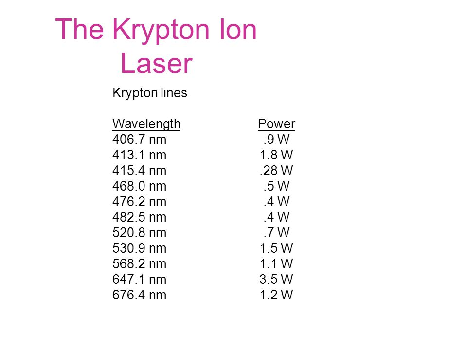 The Krypton Ion Laser Krypton lines Wavelength Power 406.7 nm.9 W 413.1 nm 1.8 W 415.4 nm.28 W 468.0 nm.5 W 476.2 nm.4 W 482.5 nm.4 W 520.8 nm.7 W 530