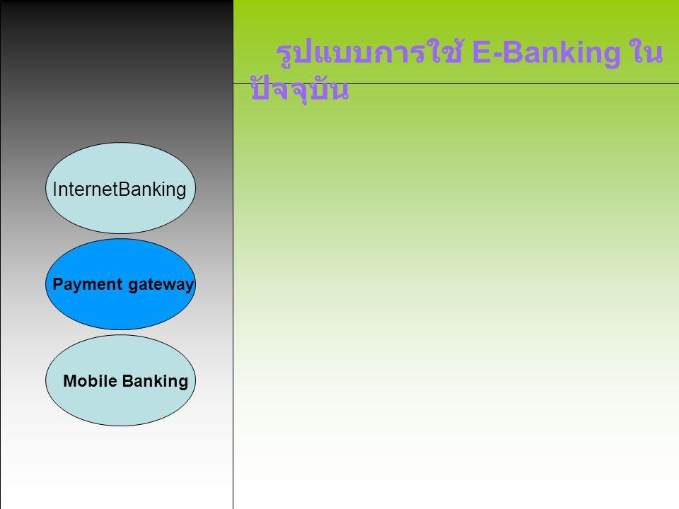 รูปแบบการใช้ E-Banking ใน ปัจจุบัน InternetBanking Payment gateway Mobile Banking ลักษณะบริการ ลูกค้าสามารถชำระค่าบริการต่างๆได้ ทุกวัน ตลอด 24 ชม.