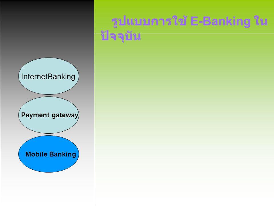 รูปแบบการใช้ E-Banking ใน ปัจจุบัน InternetBanking Payment gateway Mobile Banking ลักษณะบริการ ลักษณะบริการจะมีความคล้ายคลึงกับ อินเทอร์เน็ต แบ็งกิ้ง เพียงแต่โมบาย แบ็งกิ้งจะเน้นกลุ่มลูกค้าที่ใช้ โทรศัพท์มือถือเป็นหลัก ซึ่งมีอัตราการ เติบโตที่รวดเร็วมากในทุกๆปี อีกทั้งใน ปัจจุบัน โทรศัพท์มือถือรุ่นใหม่ๆ ยัง สนับสนุน WAP (Wireless Access Protocol) ด้วยแล้ว ยิ่งทำให้เพิ่ม โอกาสในการขยายตัวของผู้ใช้บริการ โมบาย แบ็งกิ้ง มากขึ้น