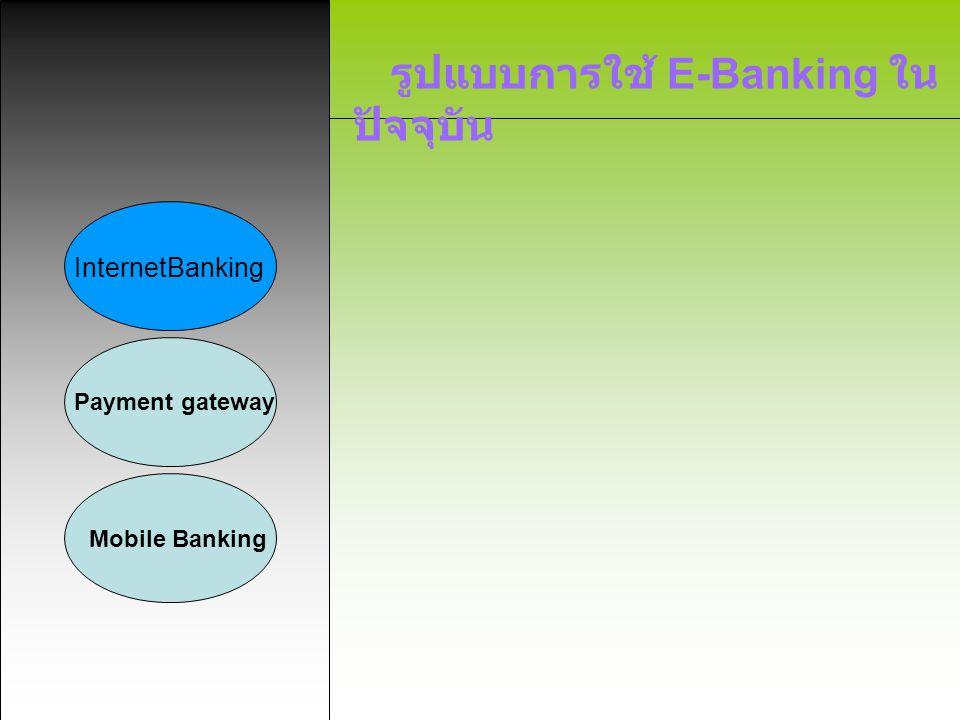 รูปแบบการใช้ E-Banking ใน ปัจจุบัน InternetBanking Payment gateway Mobile Banking 1.
