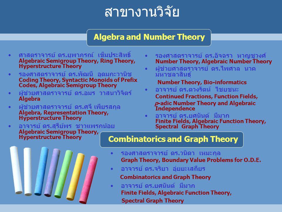 ศาสตราจารย์ ดร.ยุพาภรณ์ เข็มประสิทธิ์ Algebraic Semigroup Theory, Ring Theory, Hyperstructure Theory รองศาสตราจารย์ ดร.พัฒนี อุดมกะวานิช Coding Theory, Syntactic Monoids of Prefix Codes, Algebraic Semigroup Theory ผู้ช่วยศาสตราจารย์ ดร.อมร วาสนาวิจิตร์ Algebra ผู้ช่วยศาสตราจารย์ ดร.ศจี เพียรสกุล Algebra, Representation Theory, Hyperstructure Theory อาจารย์ ดร.สุรีย์พร ชาวแพรกน้อย Algebraic Semigroup Theory, Hyperstructure Theory สาขางานวิจัย Algebra and Number Theory รองศาสตราจารย์ ดร.อัจฉรา หาญชูวงศ์ Number Theory, Algebraic Number Theory ผู้ช่วยศาสตราจารย์ ดร.ไพศาล นาค มหาชลาสินธุ์ Number Theory, Bio-informatics อาจารย์ ดร.ตวงรัตน์ ไชยชนะ Continued Fractions, Function Fields, p-adic Number Theory and Algebraic Independence อาจารย์ ดร.ยศนันต์ มีมาก Finite Fields, Algebraic Function Theory, Spectral Graph Theory รองศาสตราจารย์ ดร.วนิดา เหมะกุล Graph Theory, Boundary Value Problems for O.D.E.