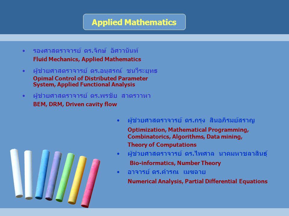 รองศาสตราจารย์ ดร.จักษ์ อัศวานันท์ Fluid Mechanics, Applied Mathematics ผู้ช่วยศาสตราจารย์ ดร.อนุสรณ์ ชนวีระยุทธ Opimal Control of Distributed Parameter System, Applied Functional Analysis ผู้ช่วยศาสตราจารย์ ดร.พรชัย สาตรวาหา BEM, DRM, Driven cavity flow ผู้ช่วยศาสตราจารย์ ดร.กรุง สินอภิรมย์สราญ Optimization, Mathematical Programming, Combinatorics, Algorithms, Data mining, Theory of Computations ผู้ช่วยศาสตราจารย์ ดร.ไพศาล นาคมหาชลาสินธุ์ Bio-informatics, Number Theory อาจารย์ ดร.คำรณ เมฆฉาย Numerical Analysis, Partial Differential Equations Applied Mathematics