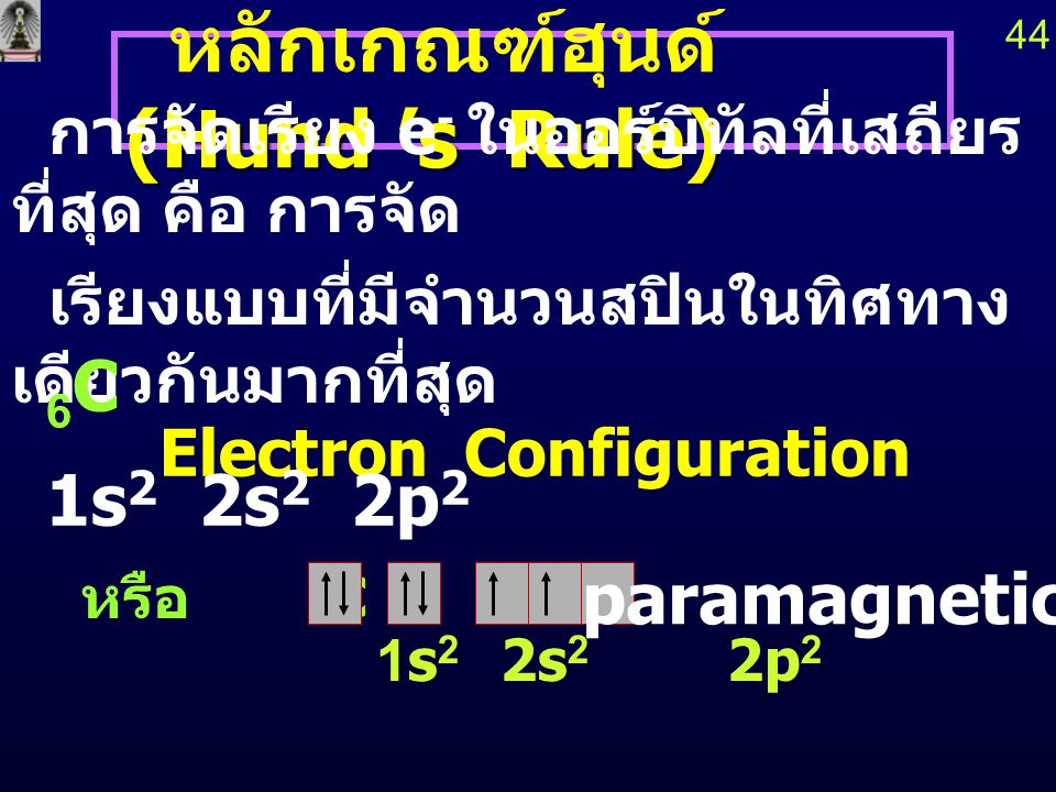 4 Be 1s 2s 2p 43 principal quantum number ใน principal quantum number เดียวกัน ระดับพลังงาน s < p < d < f < … 2p x, 2p y, 2p z มีพลังงานเท่ากัน ออร์บิทัลที่มีพลังงานเท่ากัน เรียกว่า degenerate orbitals diamagnetic paramagnetic 5 B 1s 2s 2p