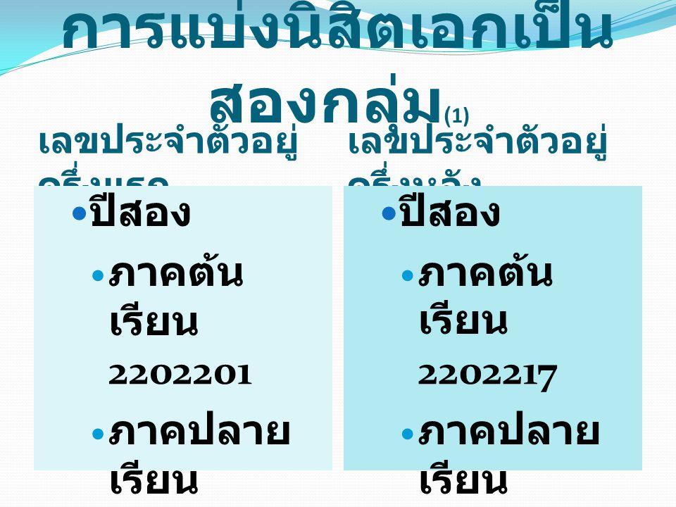 การแบ่งนิสิตเอกเป็น สองกลุ่ม (2) เลขประจำตัวอยู่ ครึ่งแรก เลขประจำตัวอยู่ ครึ่งหลัง ปีสาม ภาคต้น เรียน 2202266 ภาคปลาย เรียน 2202267 ปีสาม ภาคต้น เรียน 2202267 ภาคปลาย เรียน 2202266