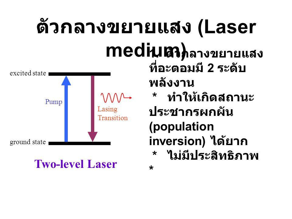 2. ตัวกลางขยายแสงที่อะตอมมี 3 ระดับ พลังงาน