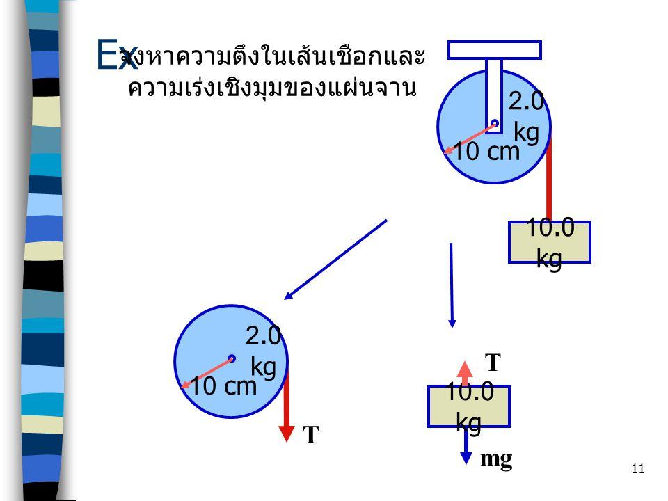 11 Ex 10.0 kg จงหาความตึงในเส้นเชือกและ ความเร่งเชิงมุมของแผ่นจาน 10 cm 2.0 kg 10.0 kg 10 cm 2.0 kg T T mg