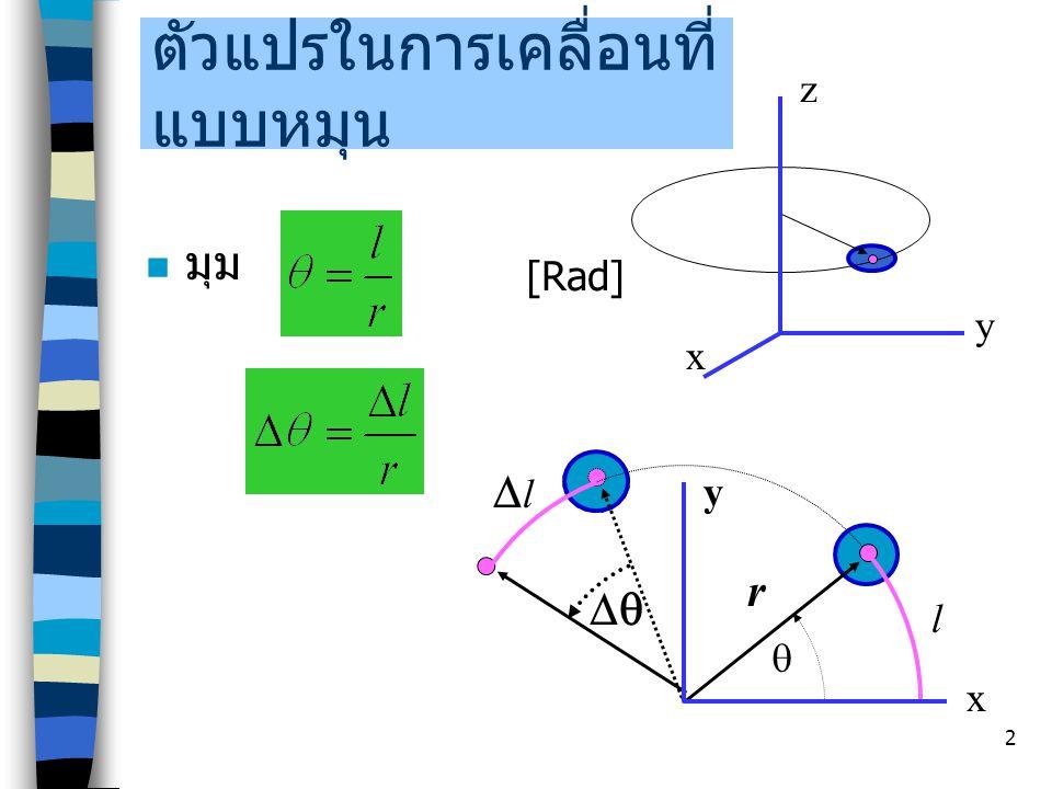 2 ตัวแปรในการเคลื่อนที่ แบบหมุน มุม  x y z x y r l [Rad]  ll