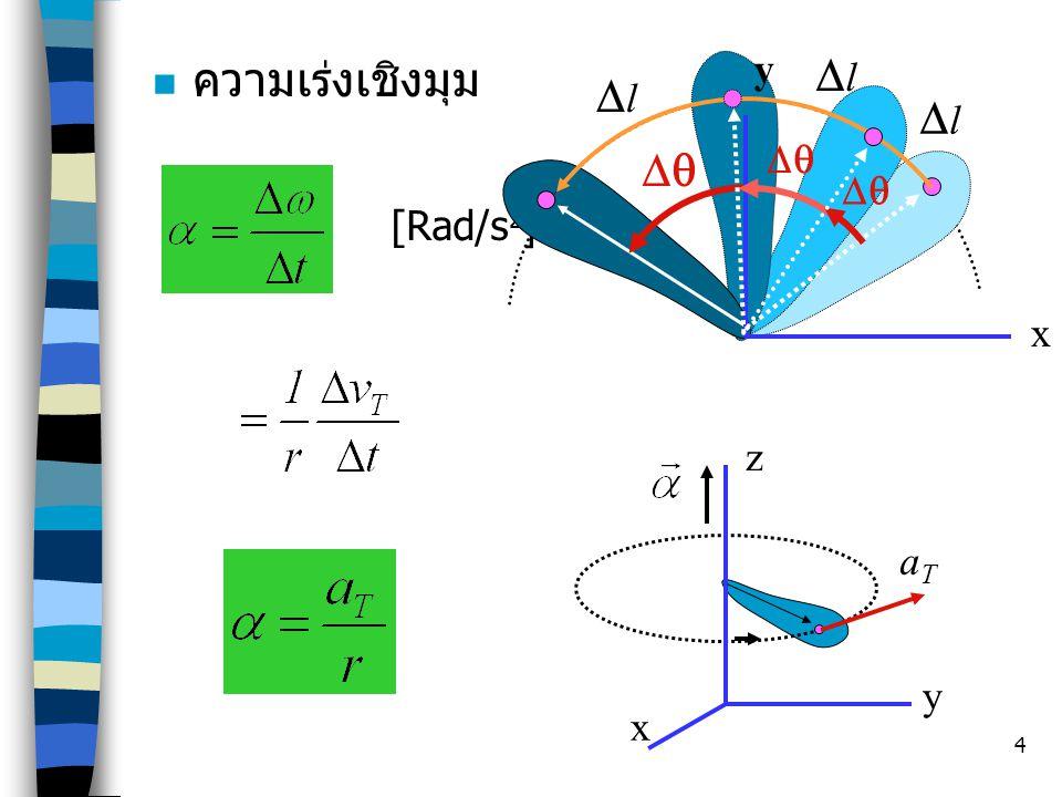 4 ความเร่งเชิงมุม z x y [Rad/s 2 ] x  ll ll ll y aTaT