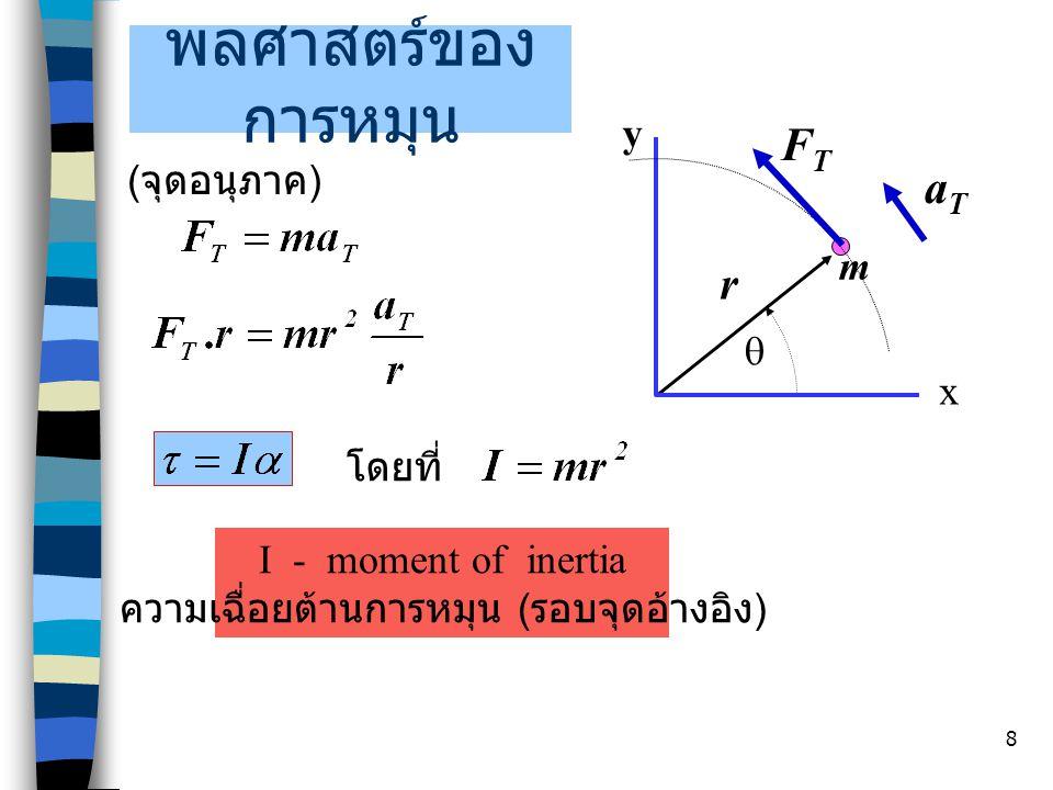 8 พลศาสตร์ของ การหมุน  x y r FTFT m aTaT ( จุดอนุภาค ) โดยที่ I - moment of inertia ความเฉื่อยต้านการหมุน ( รอบจุดอ้างอิง )