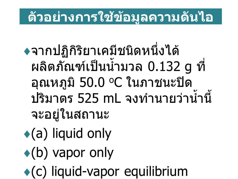 ตัวอย่างการใช้ข้อมูลความดันไอ  จากปฏิกิริยาเคมีชนิดหนึ่งได้ ผลิตภัณฑ์เป็นน้ำมวล 0.132 g ที่ อุณหภูมิ 50.0 o C ในภาชนะปิด ปริมาตร 525 mL จงทำนายว่าน้ำ