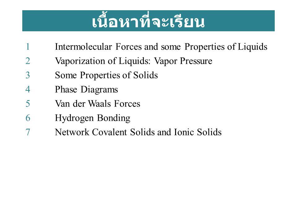 เนื้อหาที่จะเรียน 1Intermolecular Forces and some Properties of Liquids 2Vaporization of Liquids: Vapor Pressure 3Some Properties of Solids 4Phase Dia