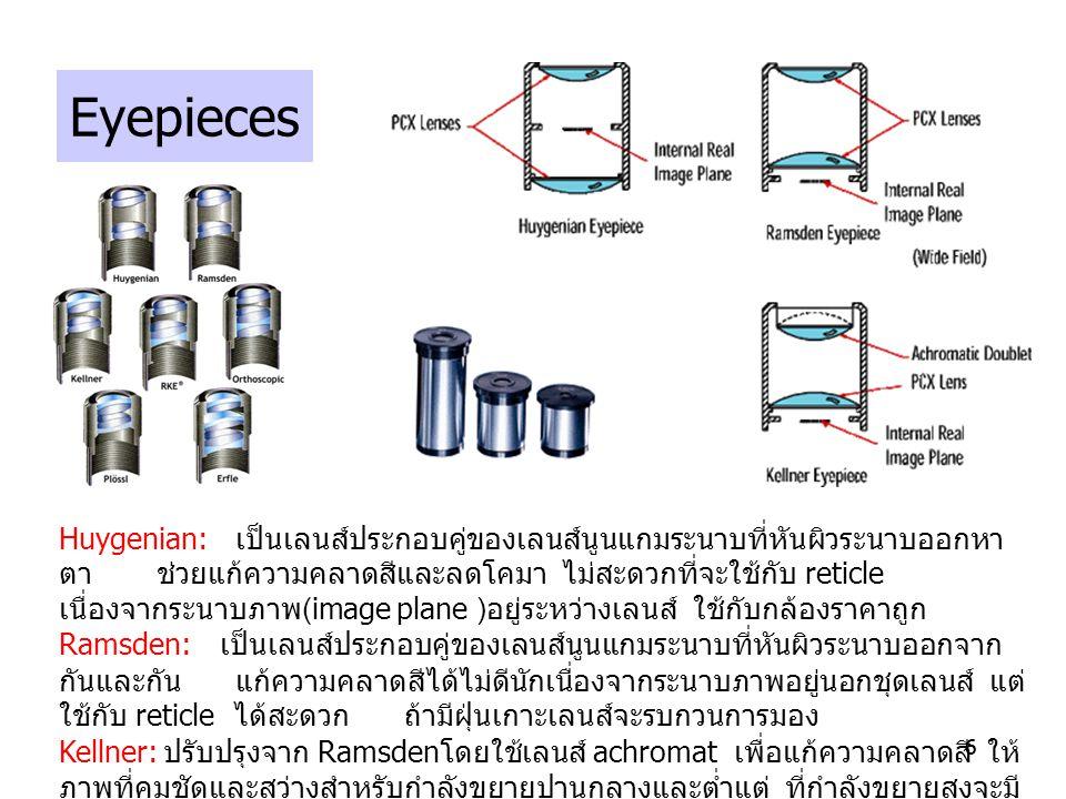 66 Eyepieces Huygenian: เป็นเลนส์ประกอบคู่ของเลนส์นูนแกมระนาบที่หันผิวระนาบออกหา ตา ช่วยแก้ความคลาดสีและลดโคมา ไม่สะดวกที่จะใช้กับ reticle เนื่องจากระ