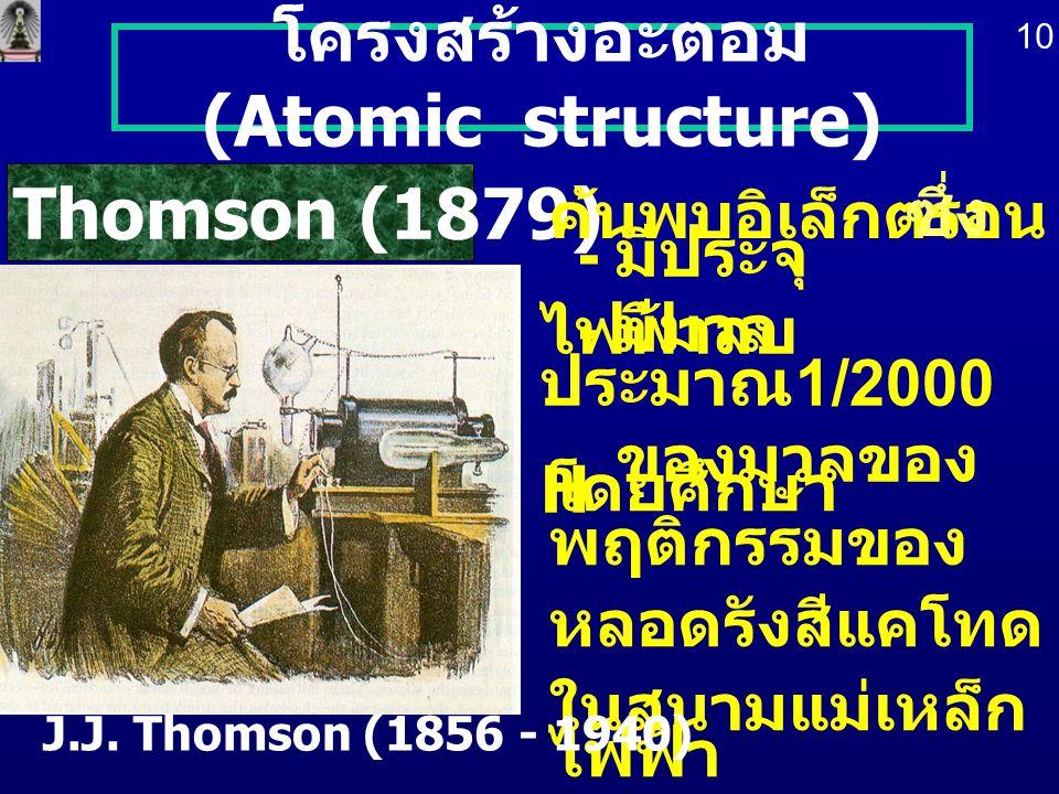 โครงสร้างอะตอม (Atomic structure) โดยศึกษา พฤติกรรมของ หลอดรังสีแคโทด ในสนามแม่เหล็ก ไฟฟ้า J.J. Thomson (1879) J.J. Thomson (1856 - 1940) ค้นพบอิเล็กต