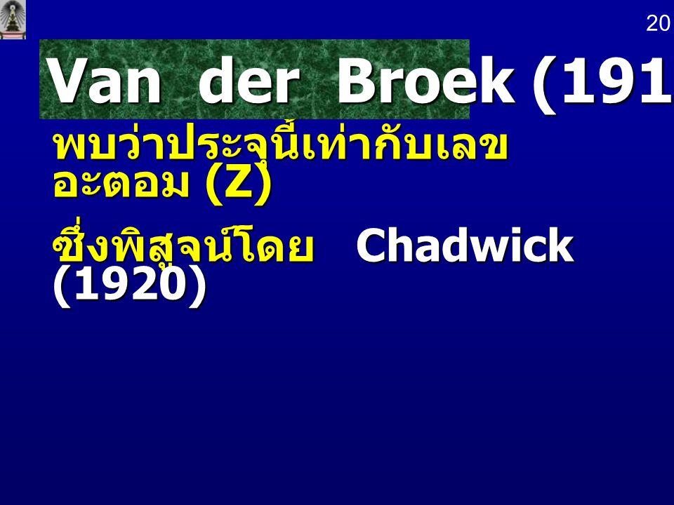 พบว่าประจุนี้เท่ากับเลข อะตอม (Z) ซึ่งพิสูจน์โดย Chadwick (1920) Van der Broek (1913) 20
