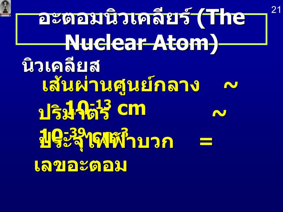 อะตอมนิวเคลียร์ (The Nuclear Atom) นิวเคลียส เส้นผ่านศูนย์กลาง ~ 10 -13 cm เส้นผ่านศูนย์กลาง ~ 10 -13 cm ปริมาตร ~ 10 -39 cm 3 ประจุไฟฟ้าบวก = เลขอะตอ