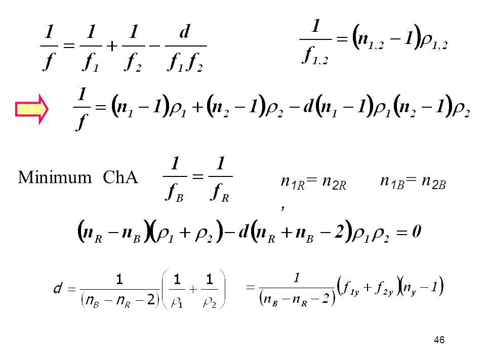 46 Minimum ChA n 1R = n 2R, n 1B = n 2B