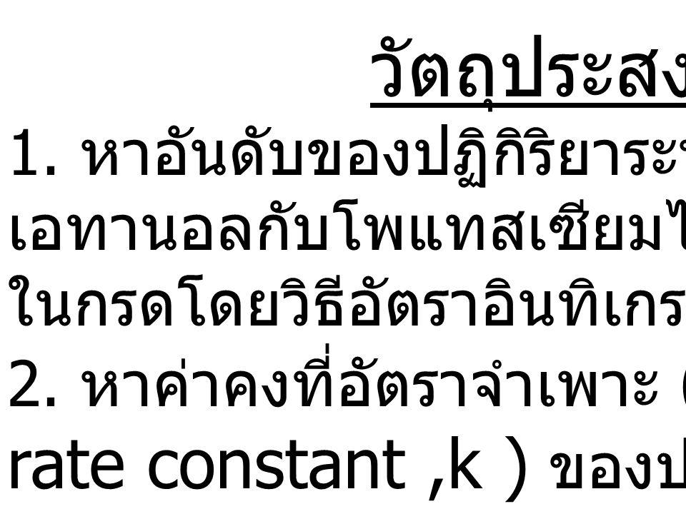 aA + bB cC + dD R = k[A] m [B] n k = ค่าคงที่อัตราจำเพาะของปฏิกิริยา ซึ่งมีค่าคงที่ที่อุณหภูมิหนึ่งๆ m, n = อันดับของปฏิกิริยาเมื่อเทียบกับ [A] และ [B] ตามลำดับ