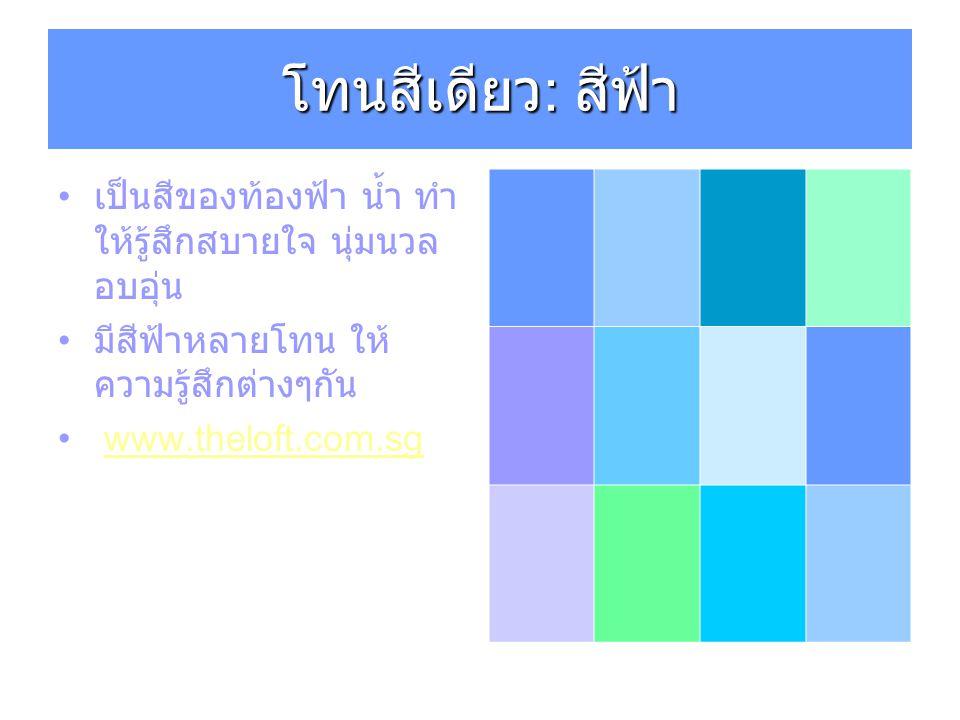 โทนสีเดียว : สีฟ้า เป็นสีของท้องฟ้า น้ำ ทำ ให้รู้สึกสบายใจ นุ่มนวล อบอุ่น มีสีฟ้าหลายโทน ให้ ความรู้สึกต่างๆกัน www.theloft.com.sg